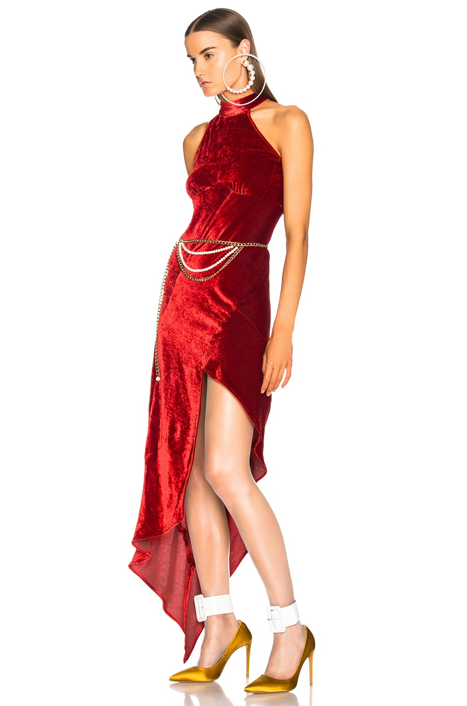 Image 4 of ATTICO Valice Tank Top Dress in Red