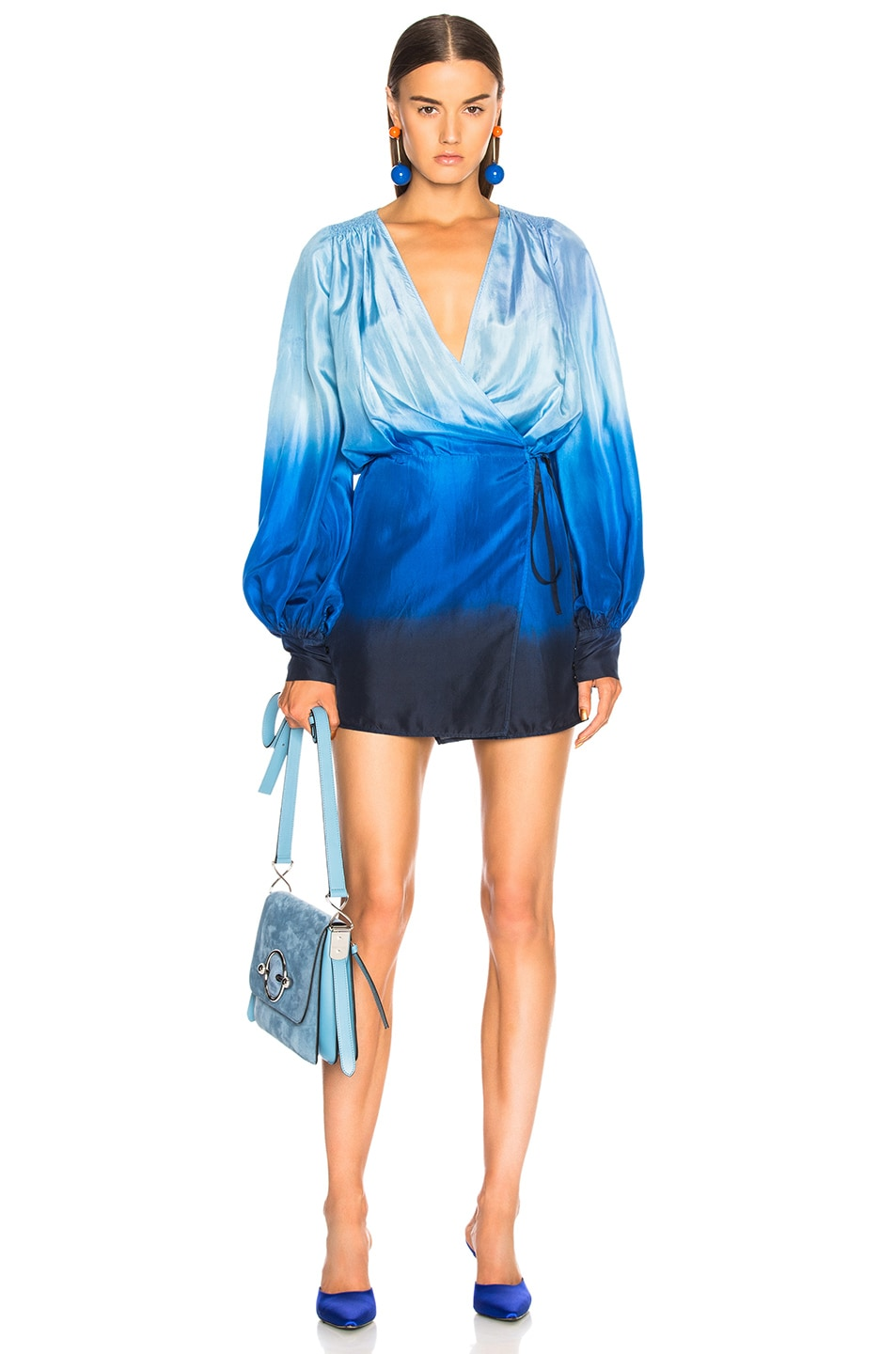 Image 1 of ATTICO for FWRD Degrade Robe Dress in Turquoise & Purple