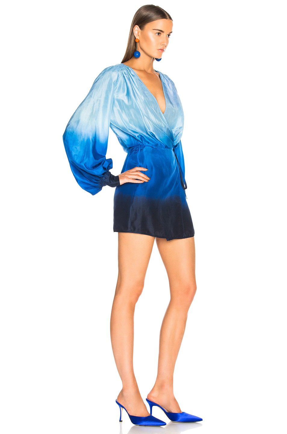 Image 2 of ATTICO for FWRD Degrade Robe Dress in Turquoise & Purple