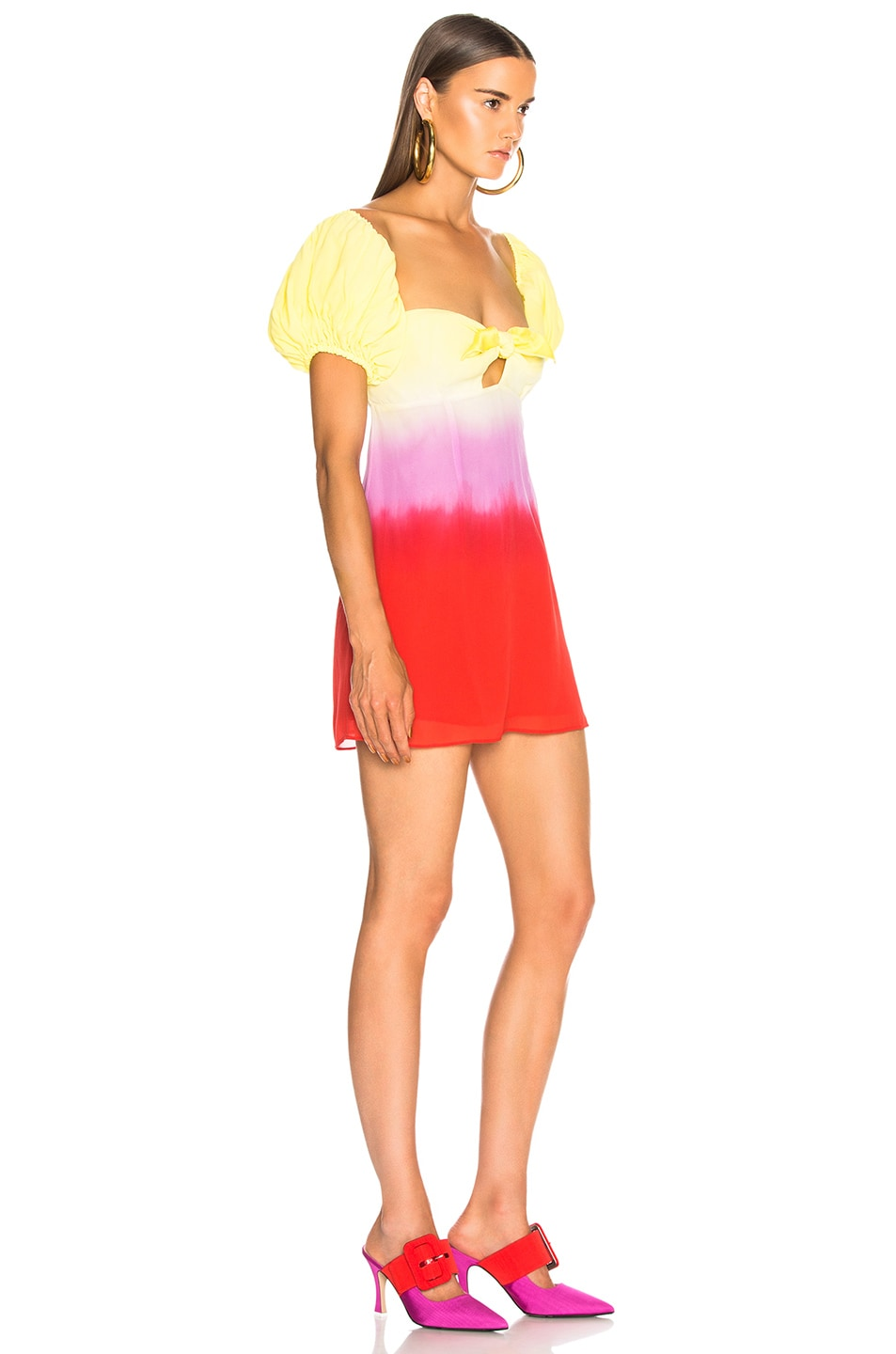 Image 2 of ATTICO for FWRD Degrade Short Dress in Yellow & Fuchsia