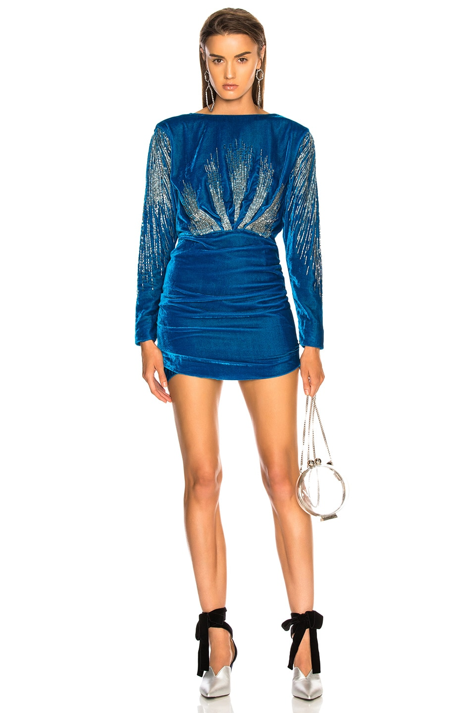 ATTICO Carolina Embroidered Velvet Dress Blue delicate