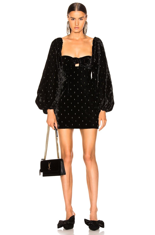 Image 1 of ATTICO Delicia Embroidered Velvet Mini Dress in Black