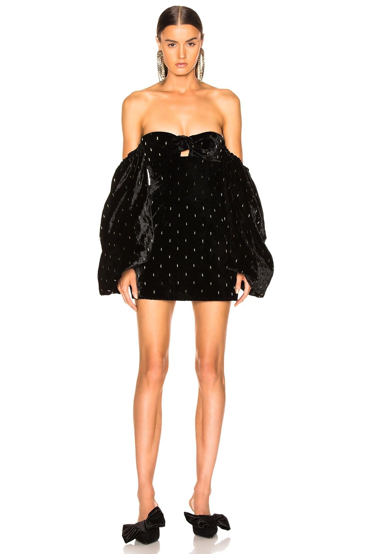 Image 2 of ATTICO Delicia Embroidered Velvet Mini Dress in Black