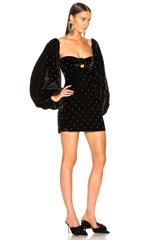 Image 3 of ATTICO Delicia Embroidered Velvet Mini Dress in Black