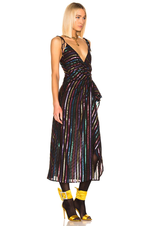 Image 2 of ATTICO Lurex Striped Slip Dress in Multicolor