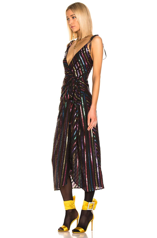 Image 3 of ATTICO Lurex Striped Slip Dress in Multicolor