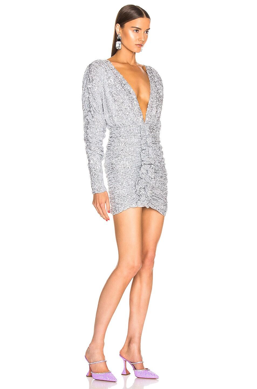 Image 2 of ATTICO Sequined Drape Dress in Silver