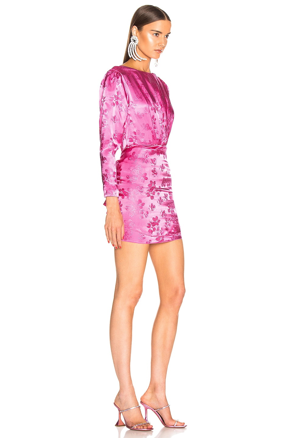 Image 2 of ATTICO Floral Jacquard Drape Dress in Pink