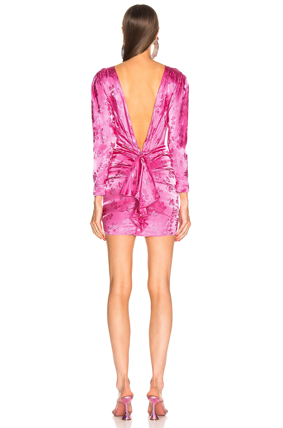 Image 3 of ATTICO Floral Jacquard Drape Dress in Pink