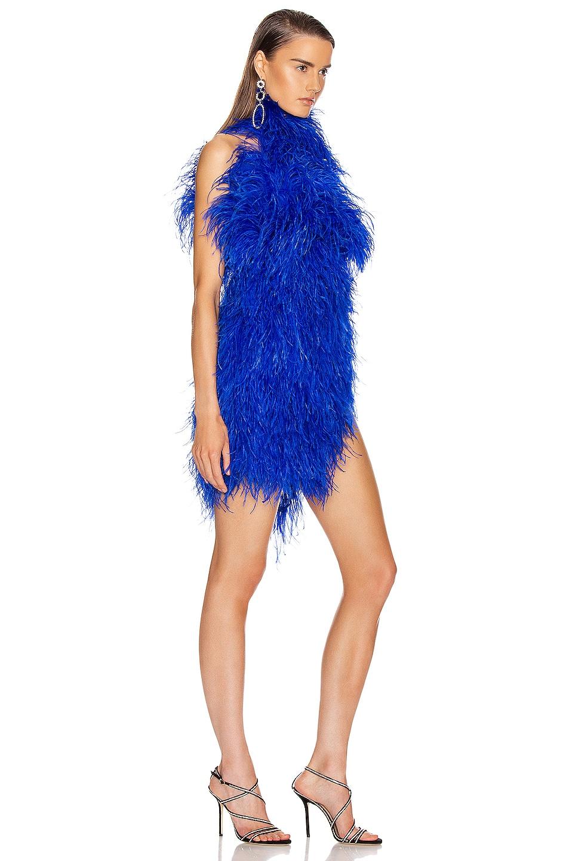 Image 2 of ATTICO Ostrich Feather Mini Dress in Electric Blue