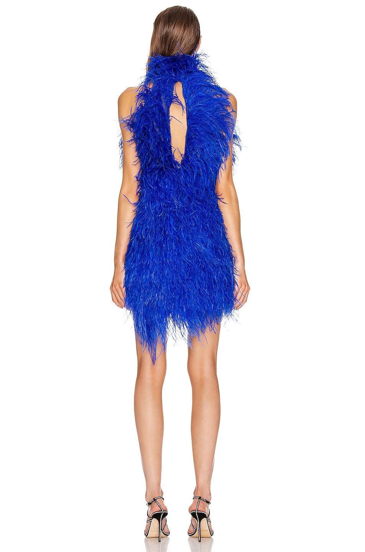 Image 4 of ATTICO Ostrich Feather Mini Dress in Electric Blue