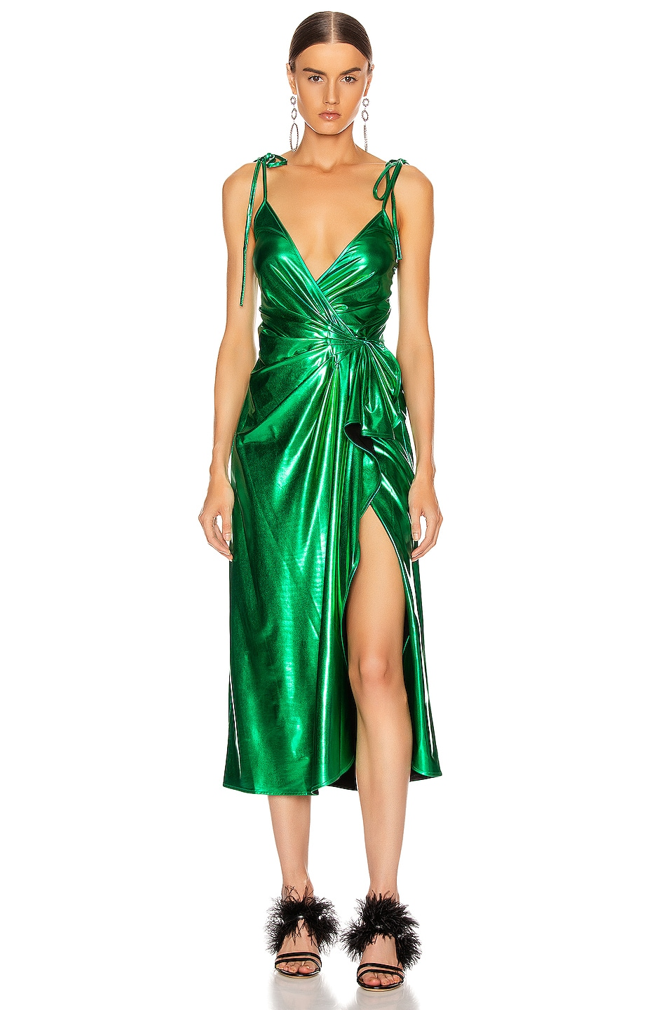Image 1 of ATTICO Lame Wrap Dress in Emerald