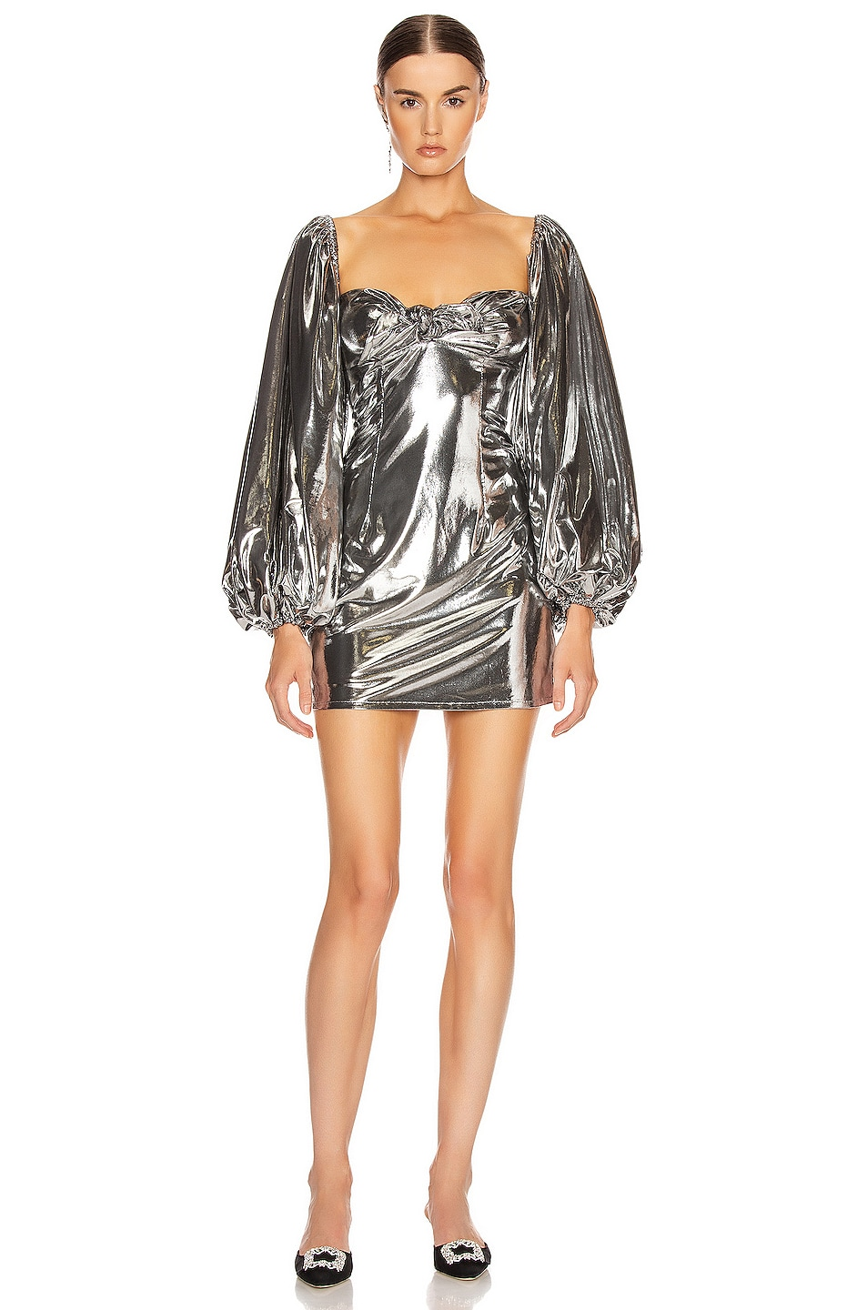 Image 1 of ATTICO Lamé Mini Dress in Silver