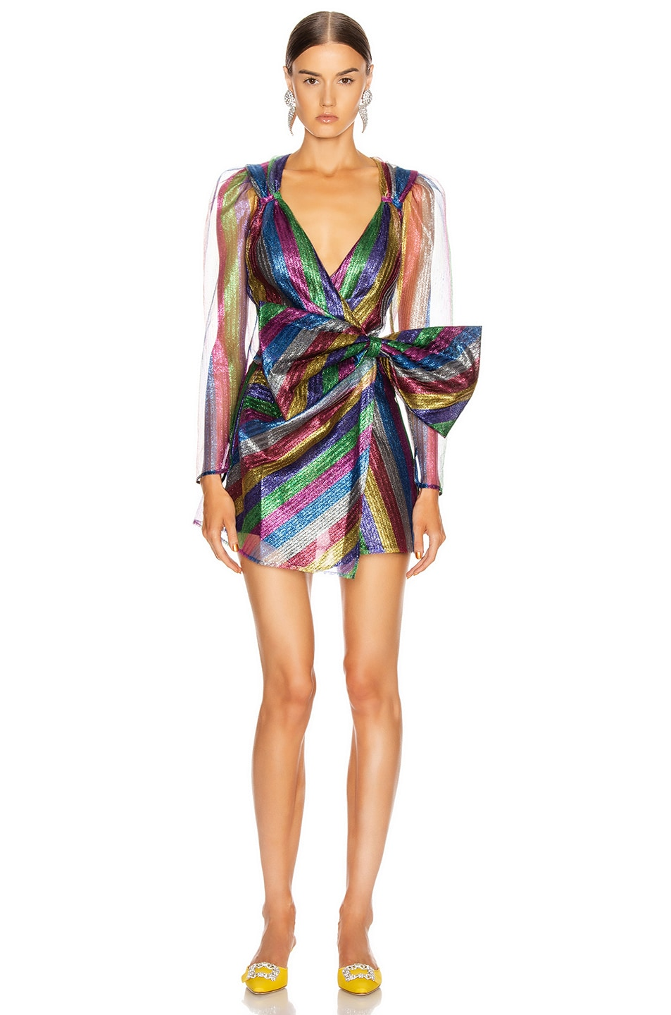 Image 1 of ATTICO Tulle Striped Mini Dress in Multicolor
