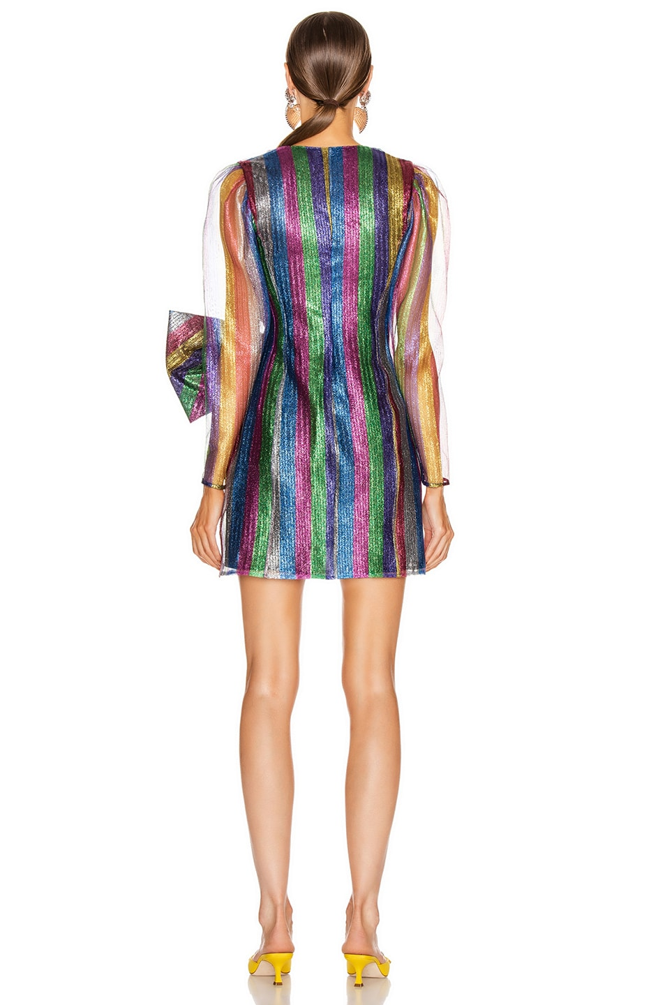 Image 3 of ATTICO Tulle Striped Mini Dress in Multicolor