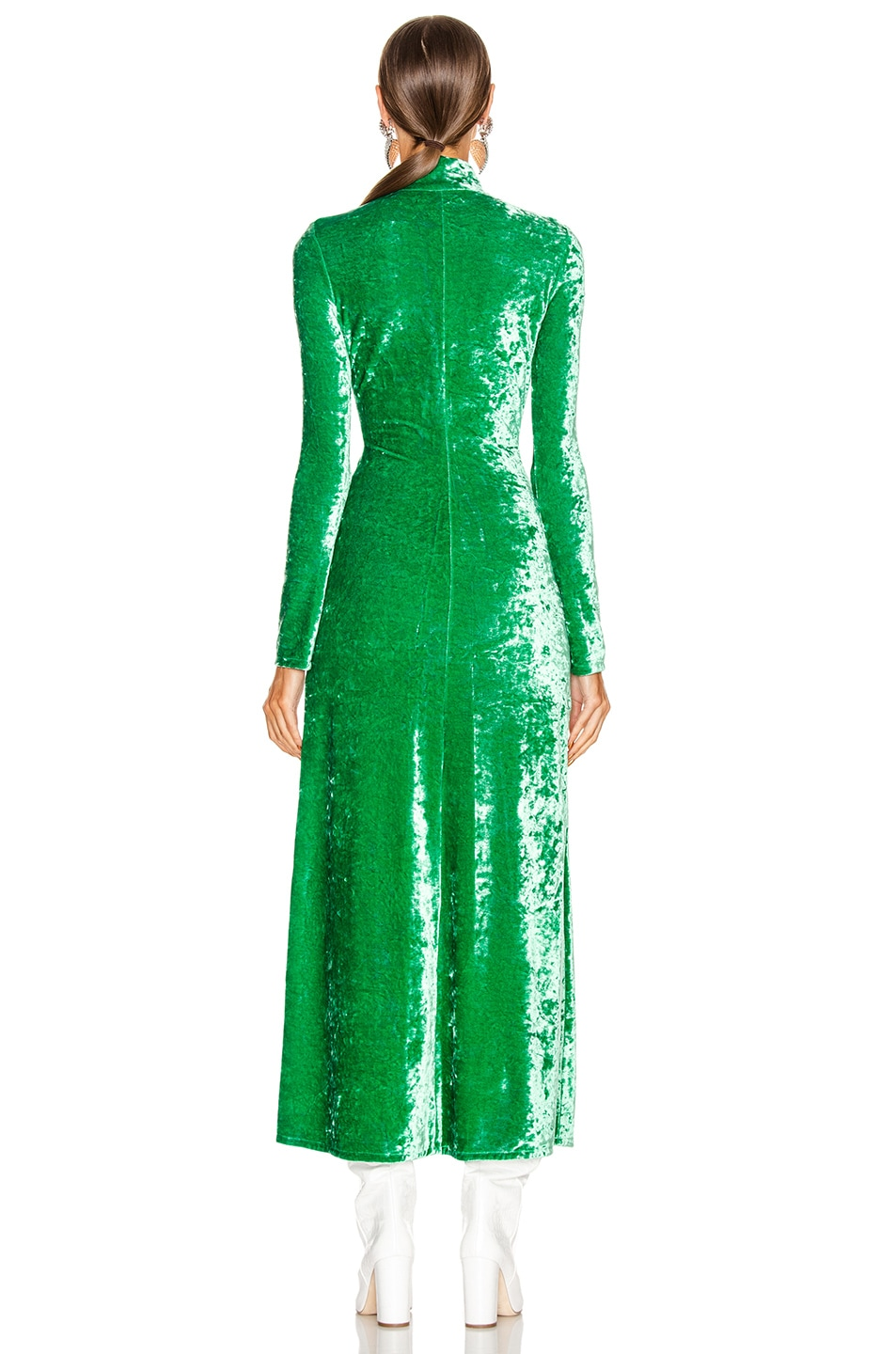 Image 3 of ATTICO Velvet Maxi Dress in Emerald