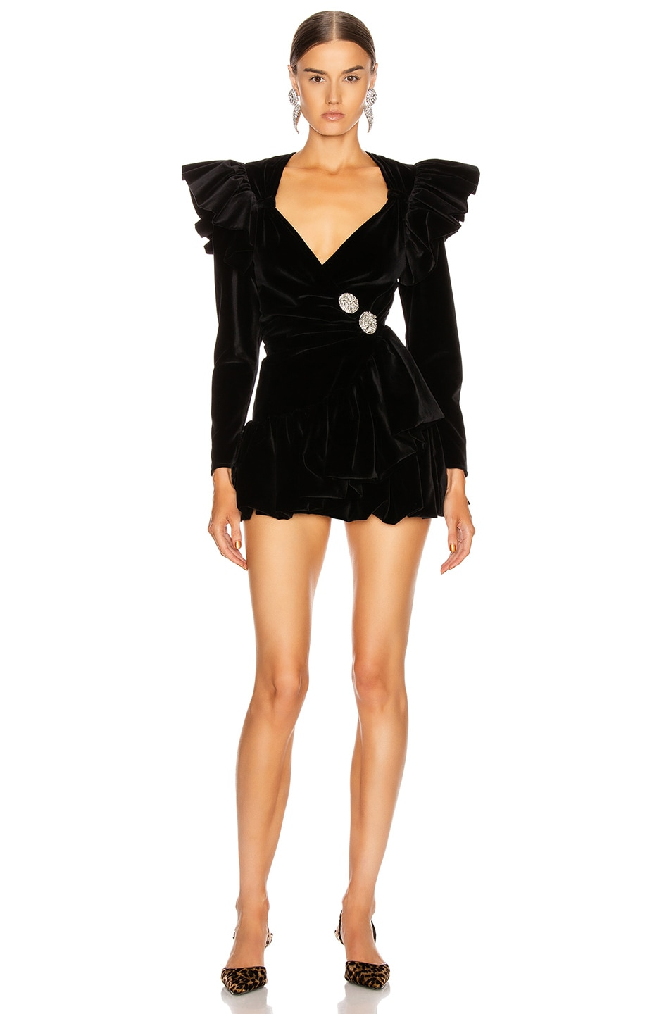 Image 1 of ATTICO Velvet Wrap Ruffle Mini Dress in Black