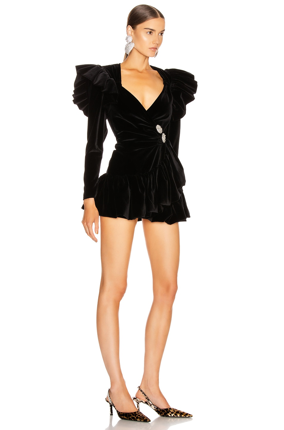 Image 2 of ATTICO Velvet Wrap Ruffle Mini Dress in Black