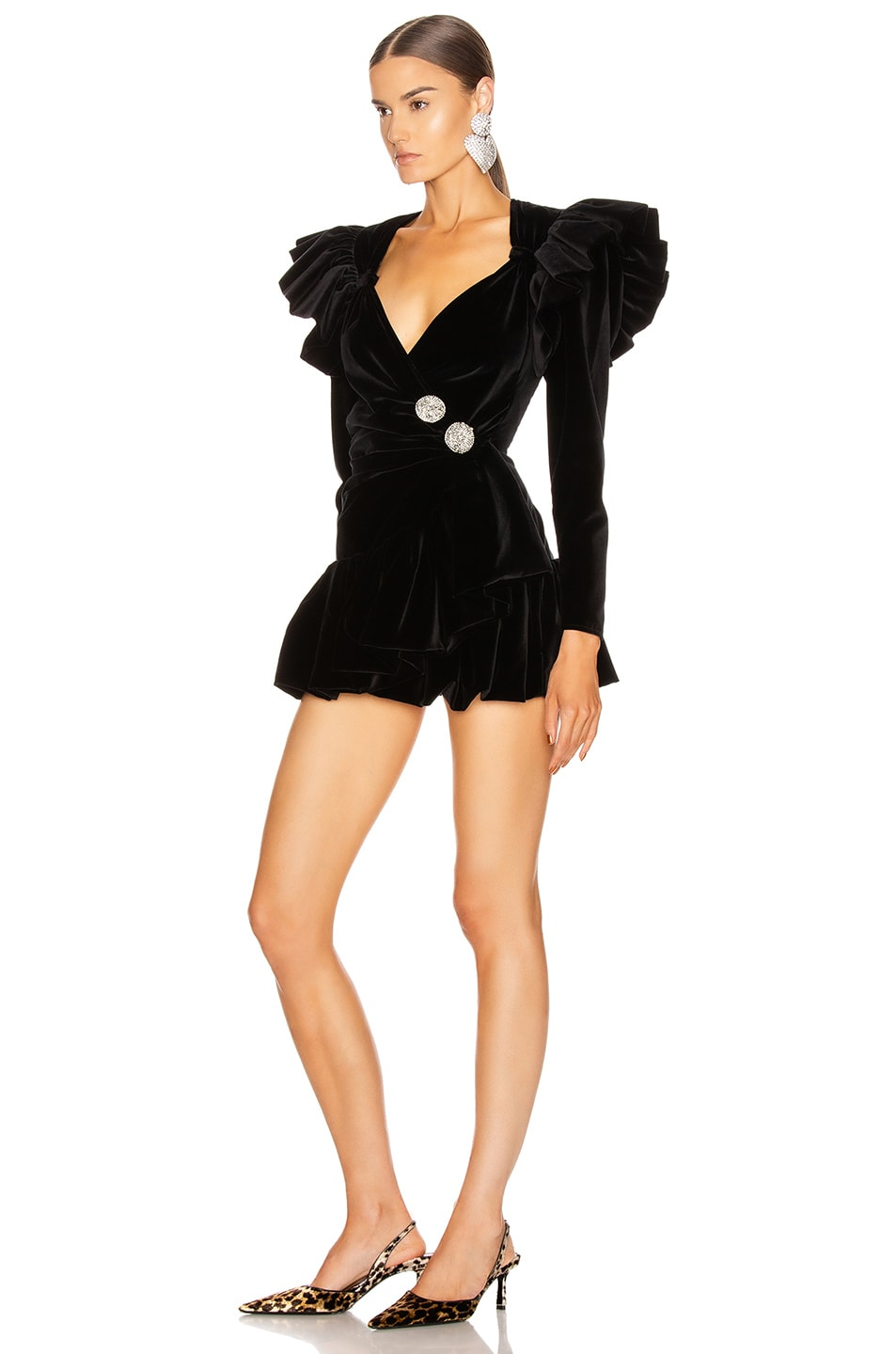 Image 3 of ATTICO Velvet Wrap Ruffle Mini Dress in Black