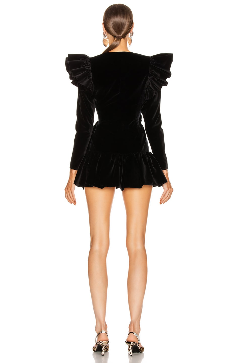 Image 4 of ATTICO Velvet Wrap Ruffle Mini Dress in Black