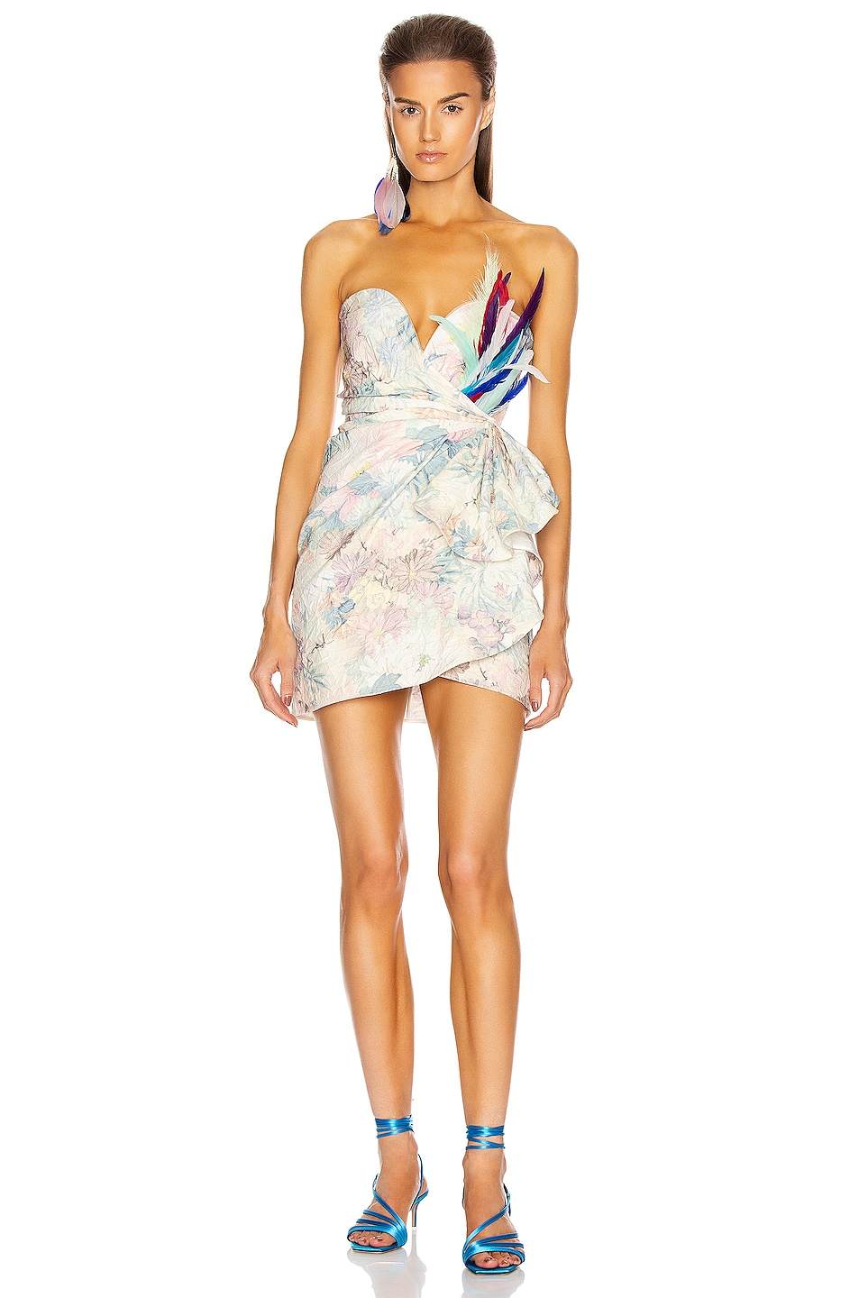 Image 1 of ATTICO Floral Strapless Mini Dress in White, Rose & Green