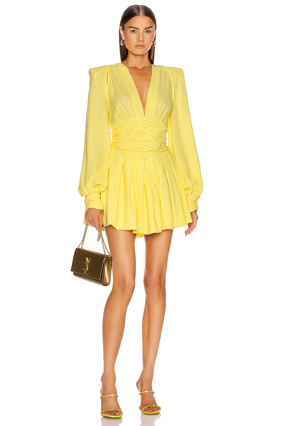 Image 1 of ATTICO Long Sleeve Ruched Mini Dress in Pale Yellow