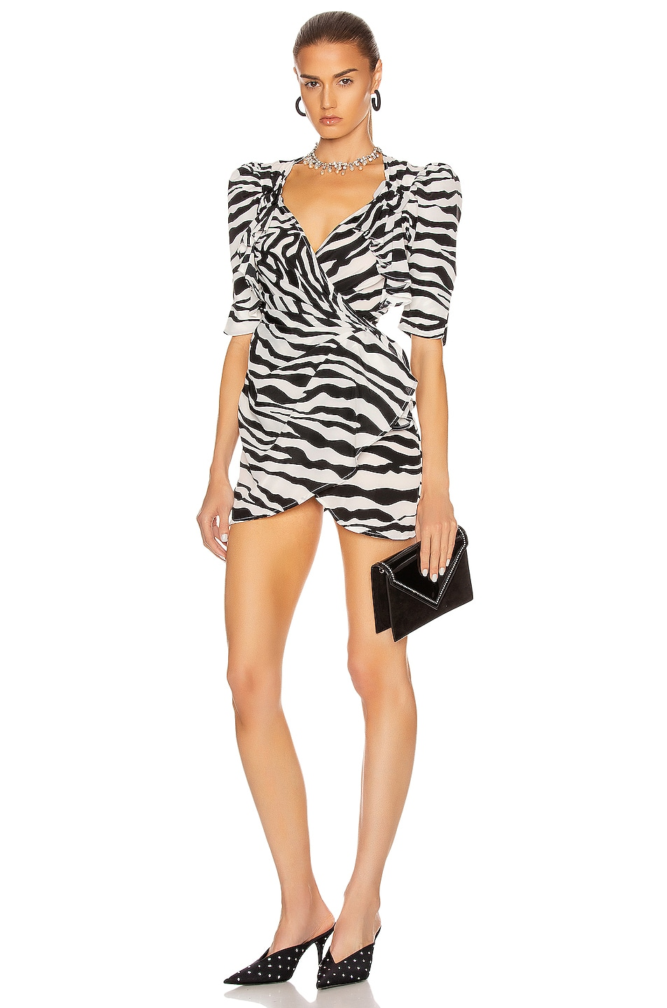 Image 1 of ATTICO Drape Buckle Mini Dress in Zebra Print