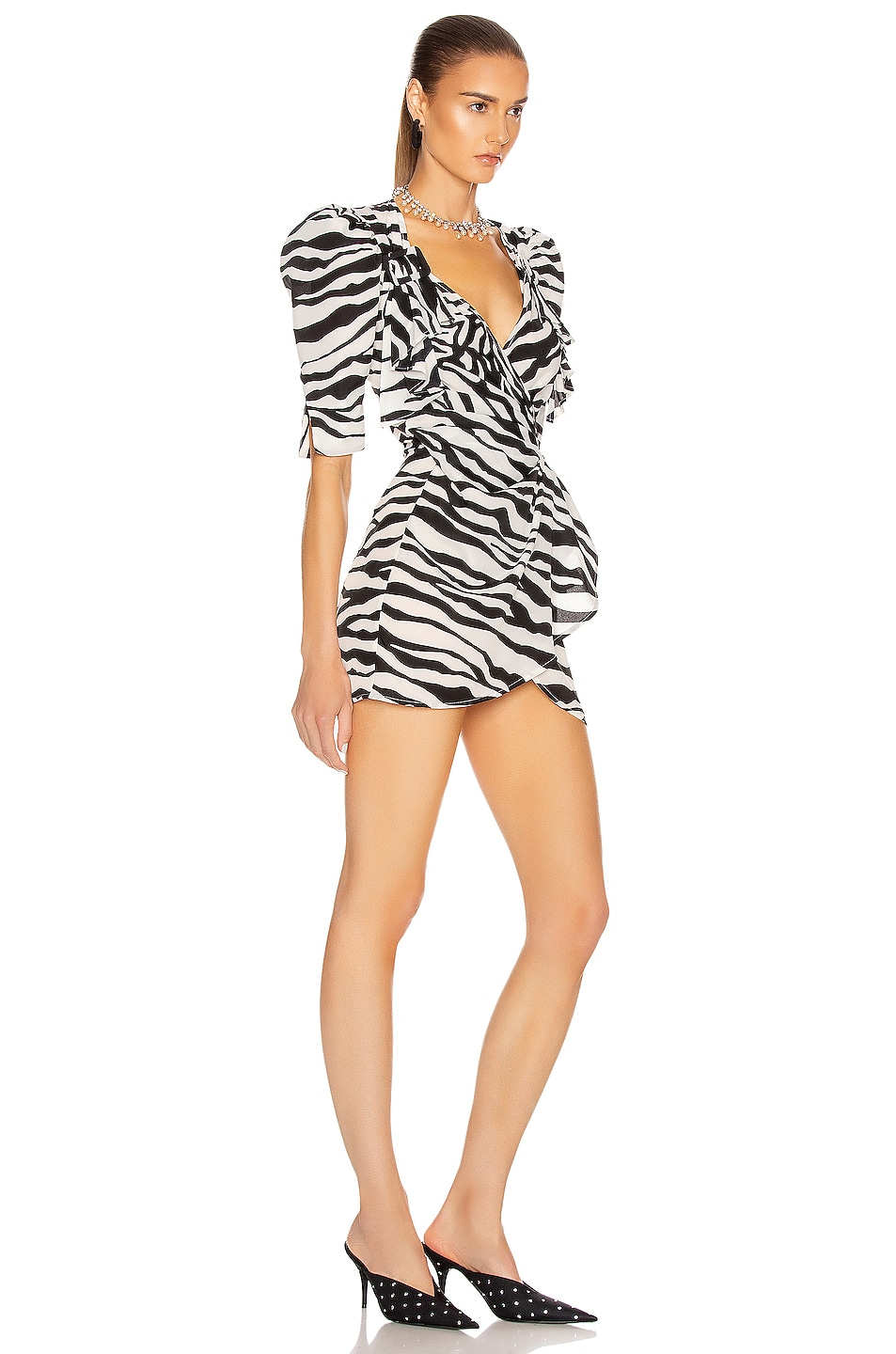Image 2 of ATTICO Drape Buckle Mini Dress in Zebra Print