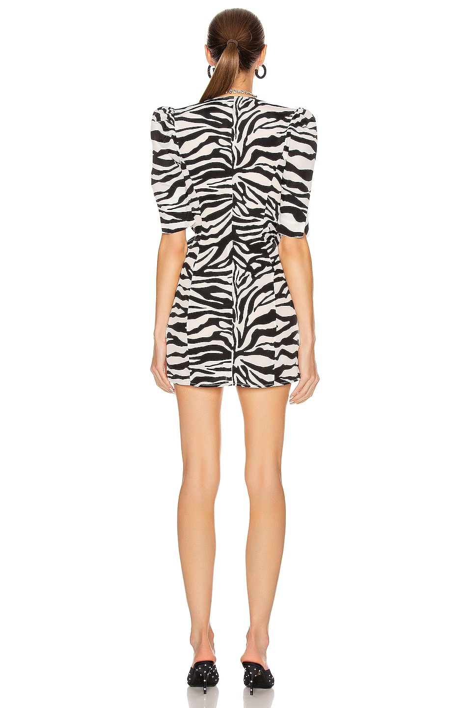 Image 4 of ATTICO Drape Buckle Mini Dress in Zebra Print