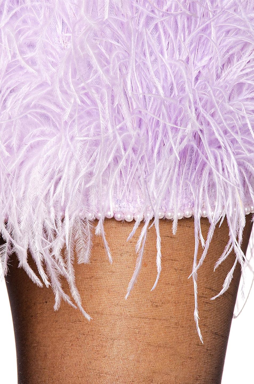 Image 4 of ATTICO Ostrich Embroidered Strapless Mini Dress in Lilac