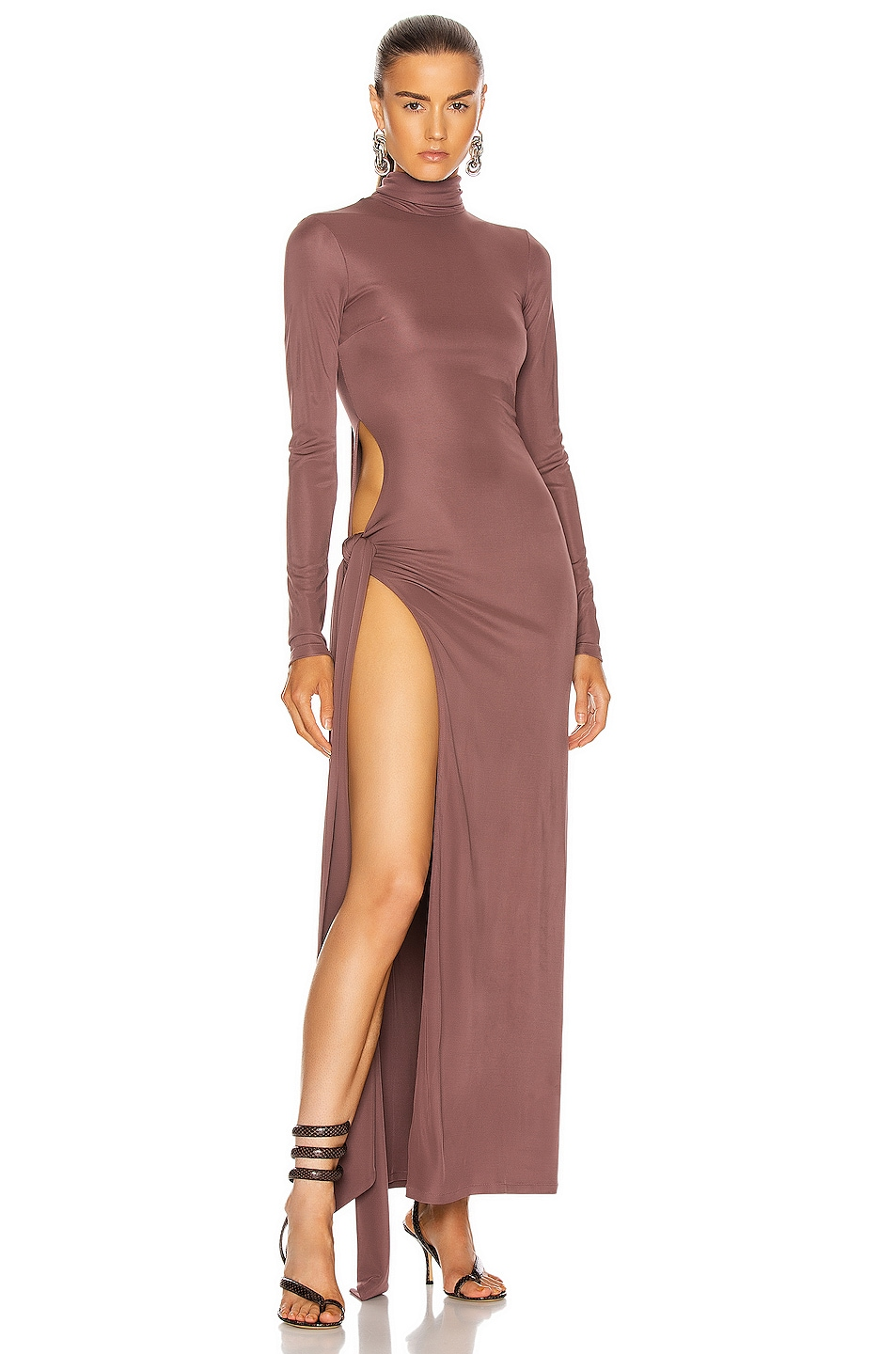 Image 1 of THE ATTICO Long Sleeve Ruched Maxi Dress in Brown