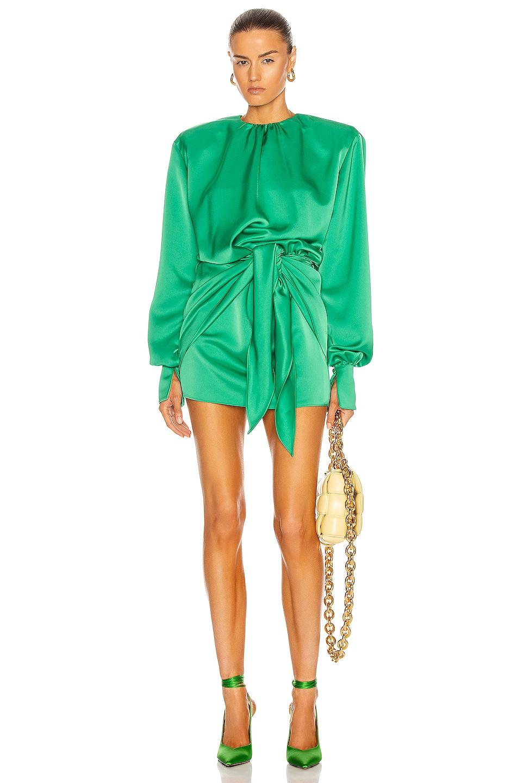 Image 1 of ATTICO Tie Waist Mini Dress in Emerald