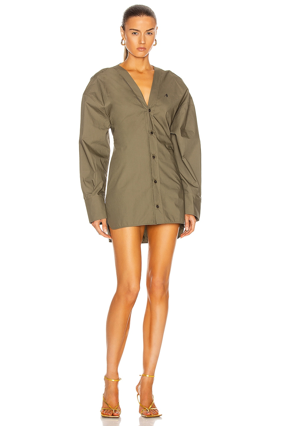Image 1 of THE ATTICO Button Down Mini Shirt Dress in Ivy Green