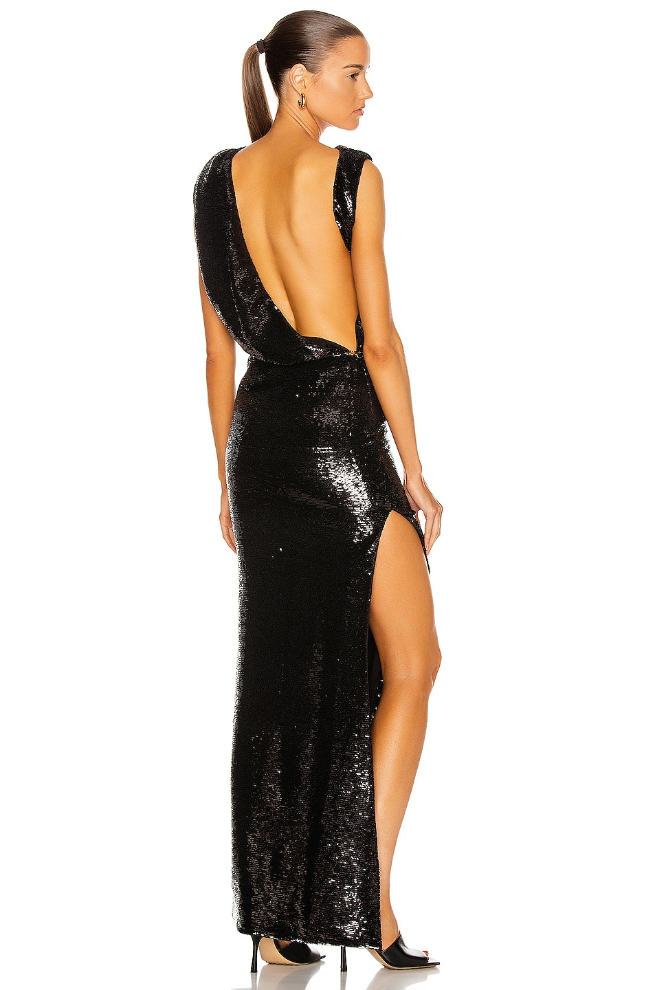 Image 1 of THE ATTICO Asymmetrical Draped Sequin Gown in Black