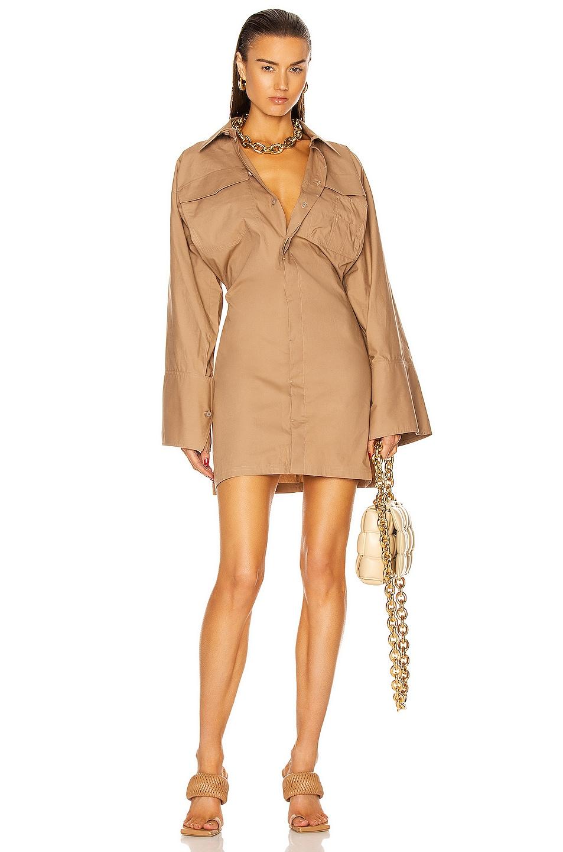 Image 1 of THE ATTICO Dakota Mini Dress in Cookie