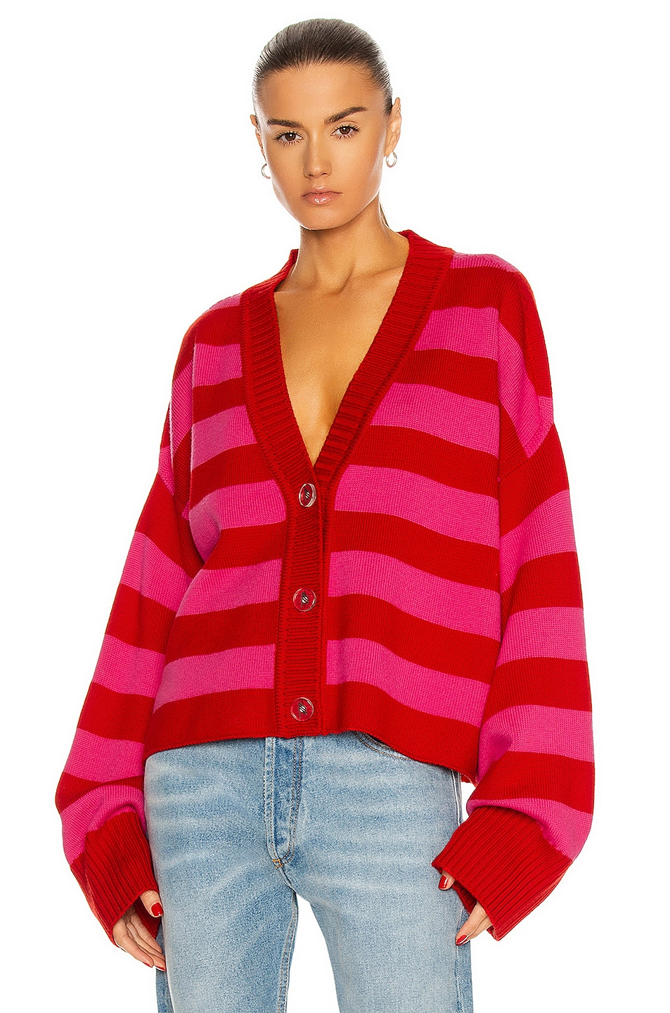 Image 1 of THE ATTICO Oversized Striped Cardigan in Barbie Pink & Red