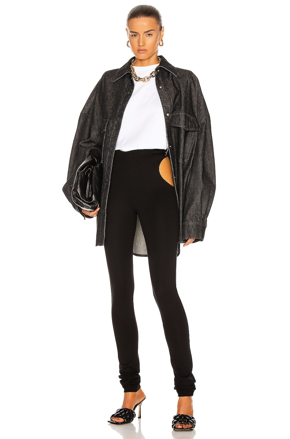 Image 1 of ATTICO Oversized Denim Jacket in Black