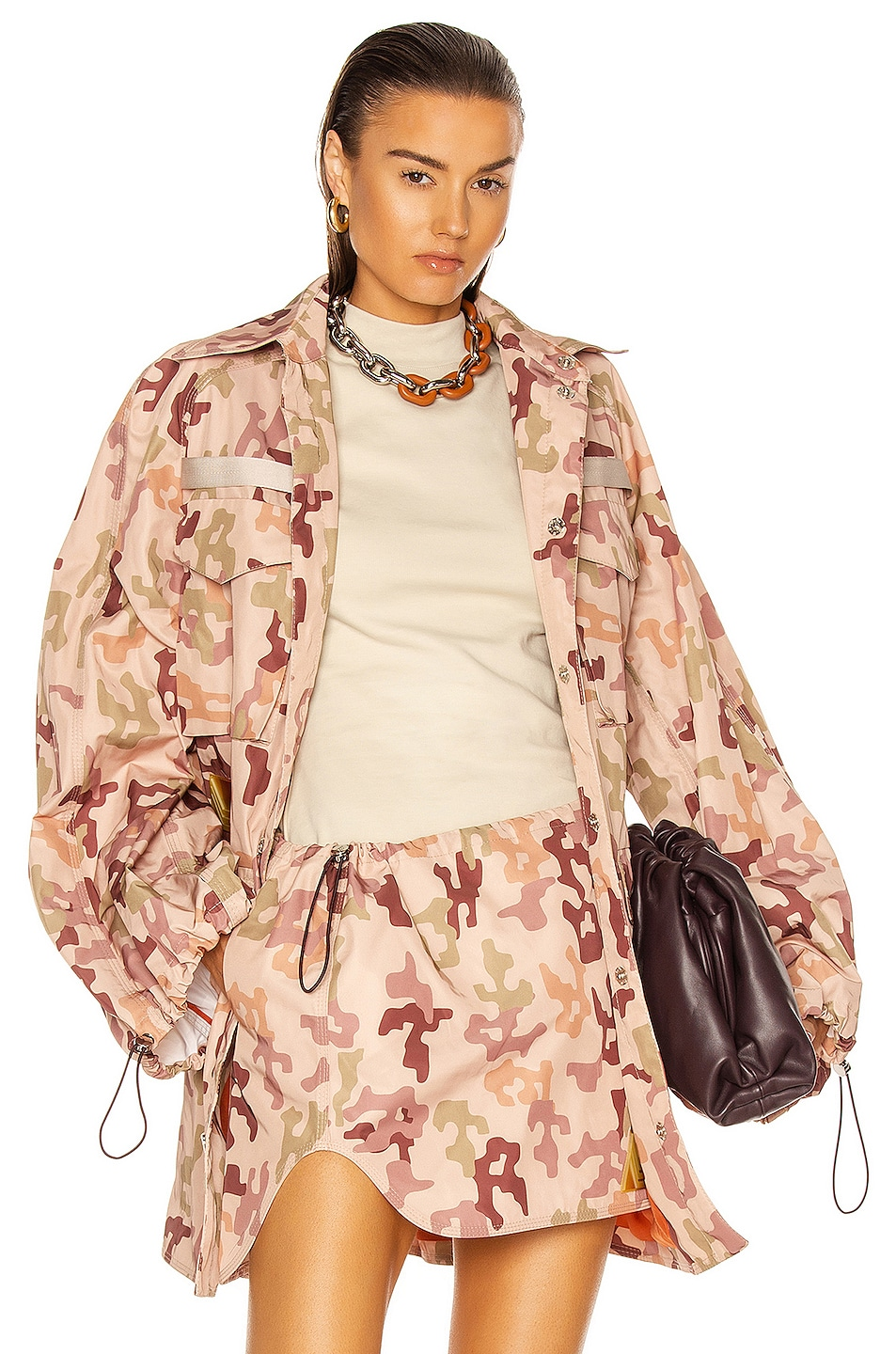 Image 1 of THE ATTICO Dexter Jacket in Pink, Green & Brown Camouflage