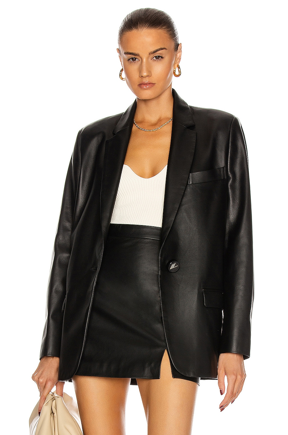 Image 1 of ATTICO Single Breasted Leather Jacket in Black