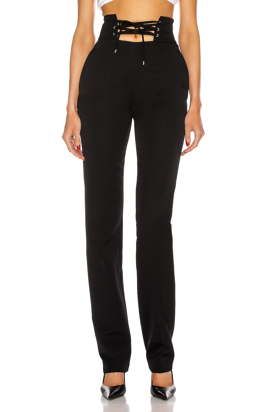 Image 1 of ATTICO High Waisted String Belt Pant in Black