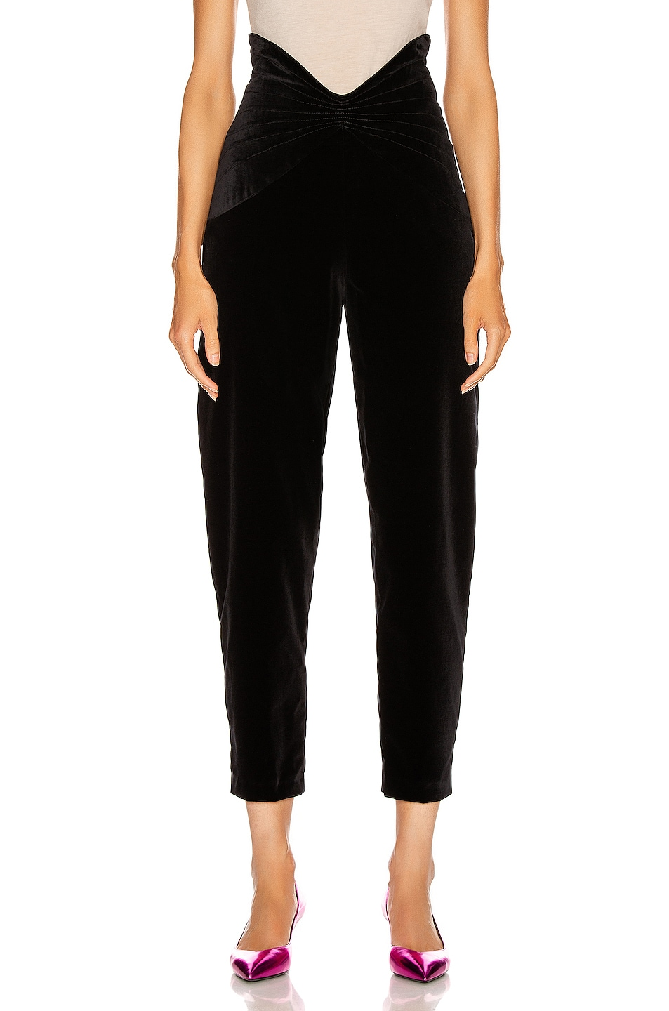 Image 1 of ATTICO Velvet Butterfly Carrot Pant in Black