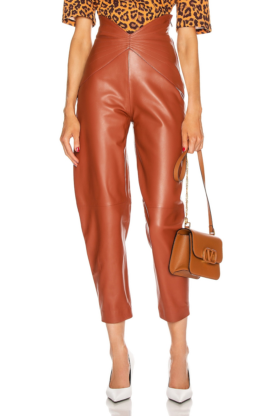 Image 1 of ATTICO Leather Butterfly Carrot Pant in Cognac