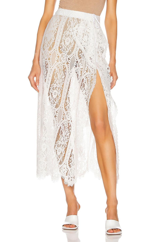 Image 1 of ATTICO Lace Skirt in Cream