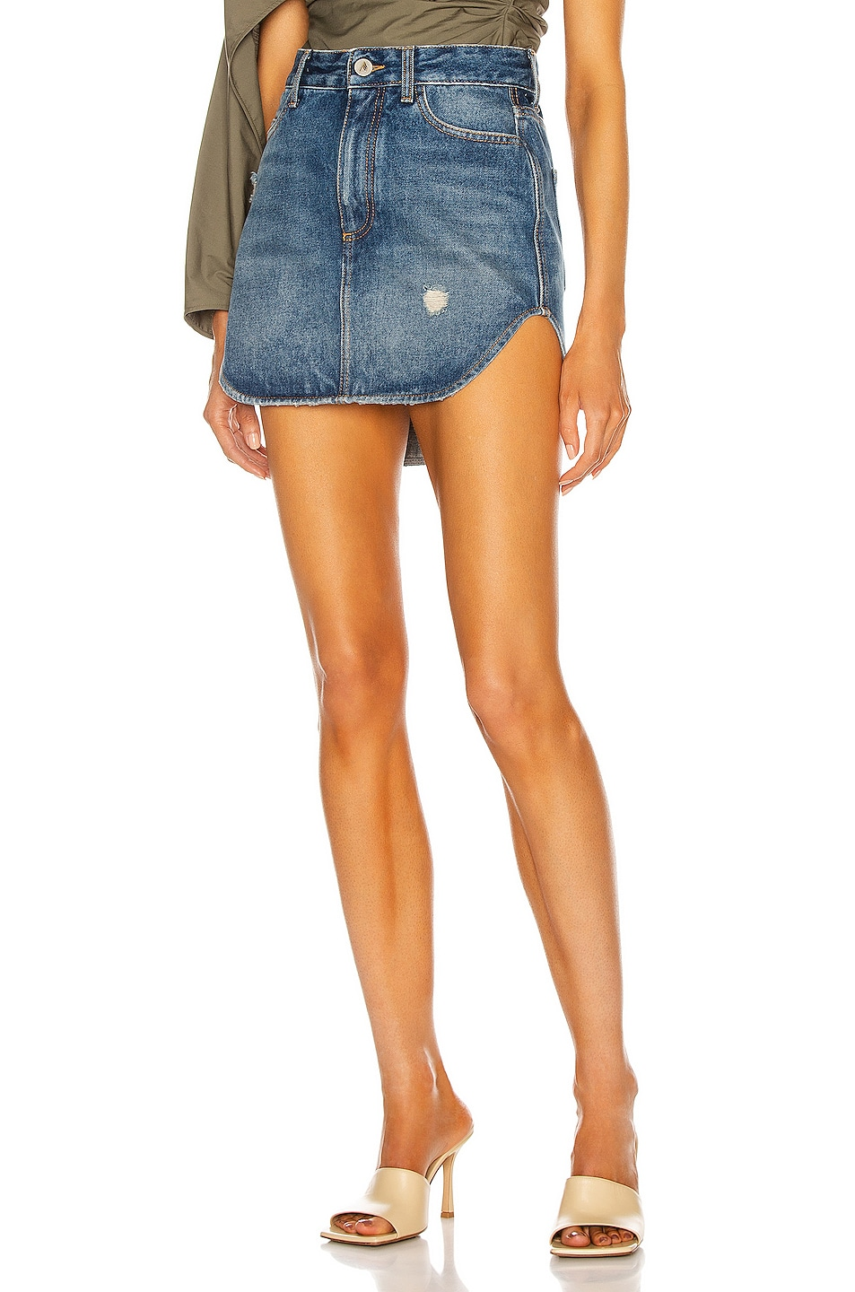 Image 1 of THE ATTICO Rounded Hem Mini Skirt in Blue Vintage