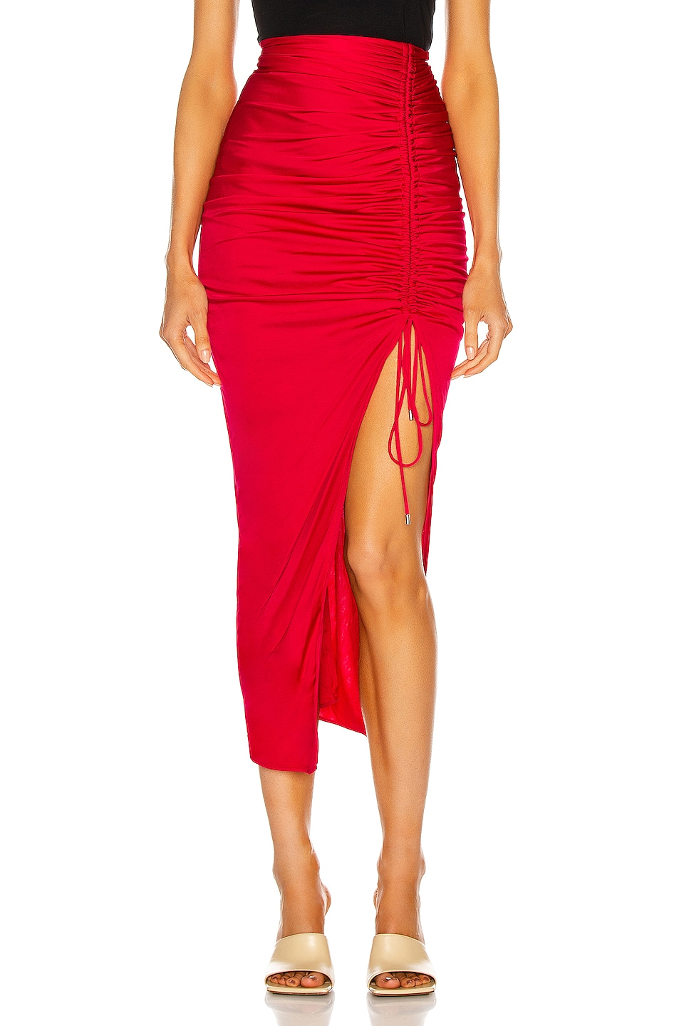 Image 1 of THE ATTICO Ruched High Slit Midi Skirt in Raspberry