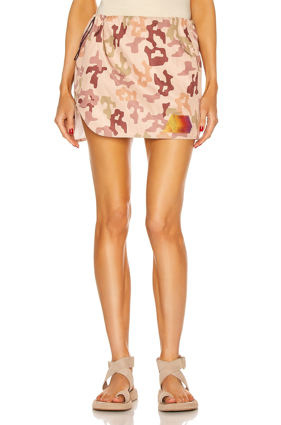Image 1 of THE ATTICO Giana Mini Skirt in Pink, Green & Brown Camouflage
