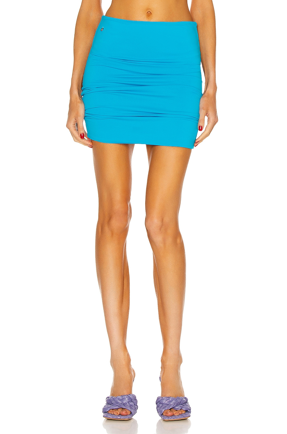 Image 1 of THE ATTICO Ruched Mini Skirt in Turquoise