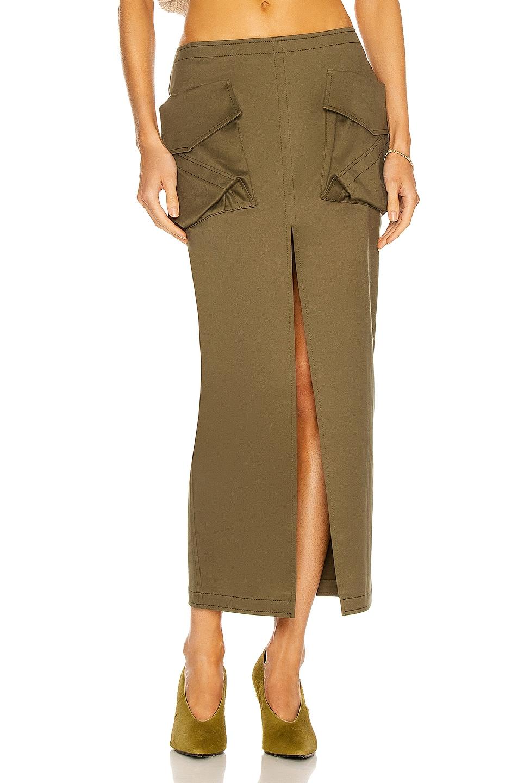 Image 1 of THE ATTICO Cargo Midi Skirt in Military Green