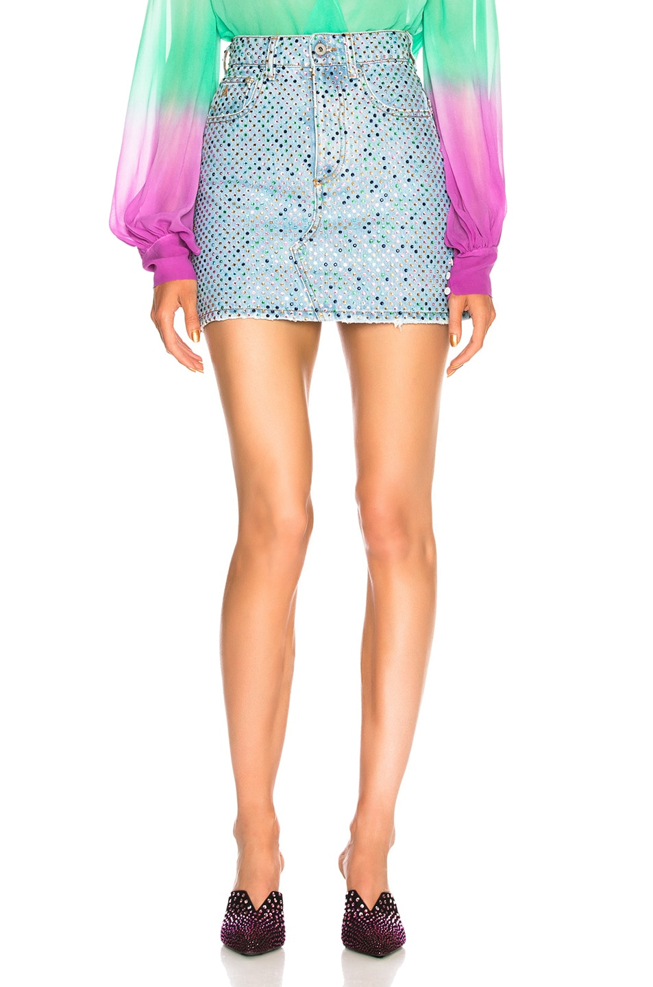 Image 1 of THE ATTICO for FWRD Multicolor Crystal Skirt in Denim