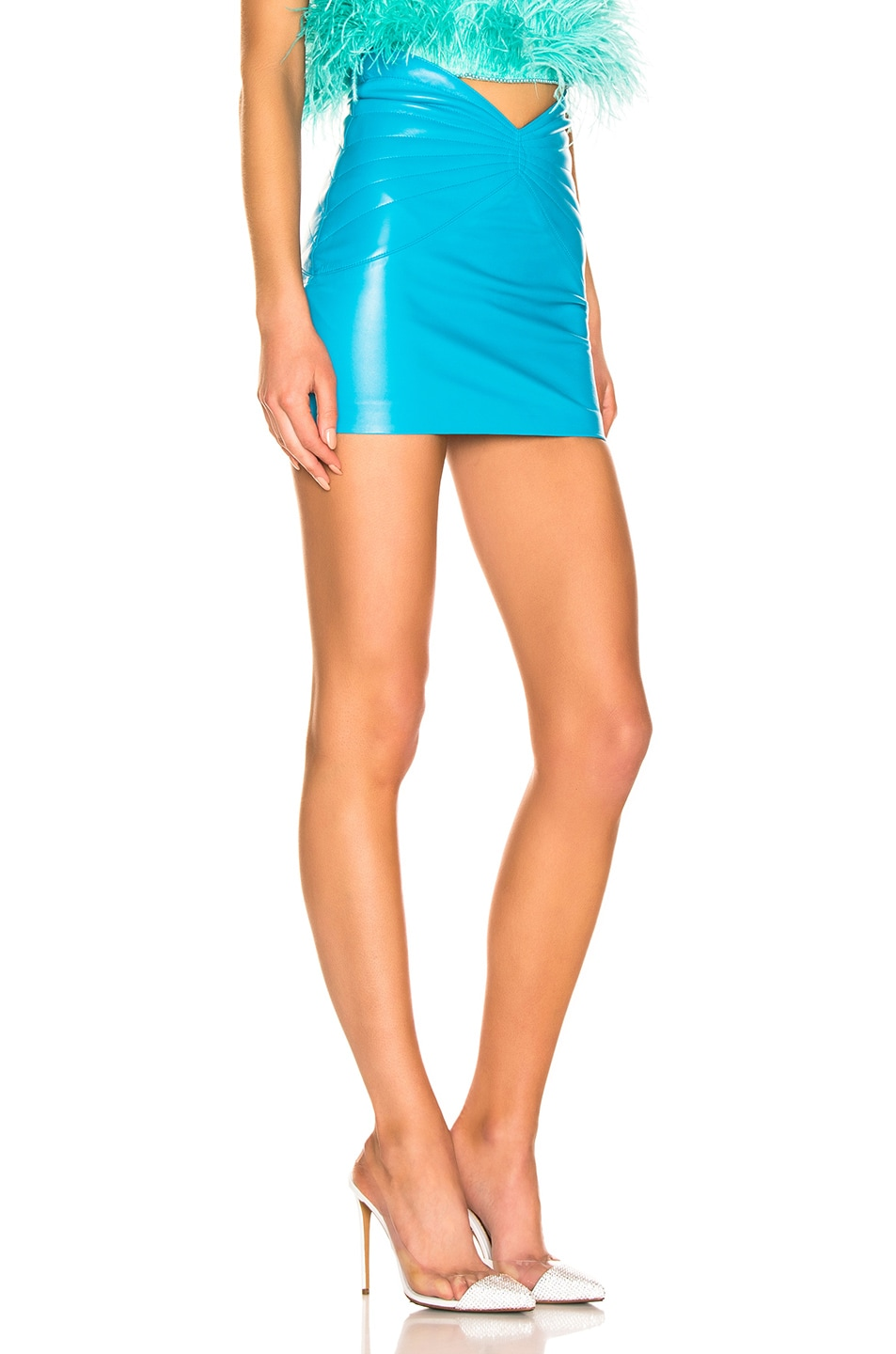 Image 2 of ATTICO Butterfly Leather Mini Skirt in Turquoise